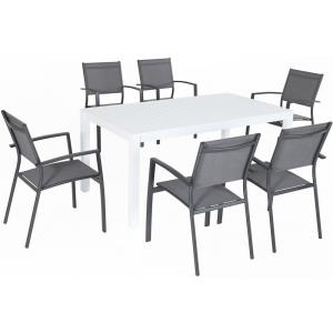"Del Mar - 78"" 7 Piece Outdoor Rectangle Dining Set with 6 Sling Chairs"