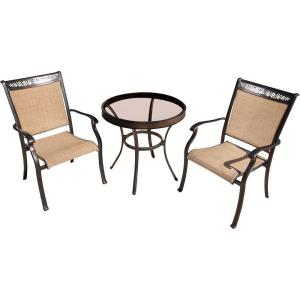 """Fontana - 30"""" 3 Piece Round Bistro Set with 2 Sling Dining Chairs"""