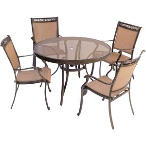 Fontana - 48 Inch 5 Piece Round Bistro Set with 4 Sling Dining Chairs