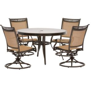 Fontana - 48 Inch 5 Piece Round Bistro Set with 4 Sling Swivel Rockers Chairs
