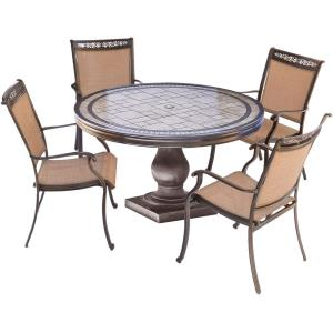 """Fontana - 51"""" 5 Piece Round Bistro Set with 4 Sling Dining Chairs"""