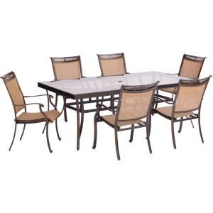 Fontana - 84 Inch 7 Piece Rectangle Dining Set with 6 Sling Dining Chairs