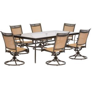 Fontana - 84 Inch 7 Piece Rectangle Dining Set with 6 Sling Swivel Rockers Chairs