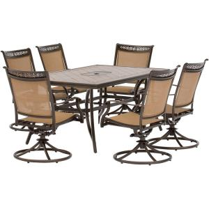 "Fontana - 68"" 7 Piece Rectangle Dining Set with 6 Sling Swivel Rockers Chairs"