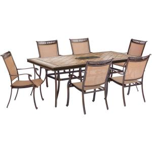 "Fontana - 68"" 7 Piece Rectangle Dining Set with 6 Sling Dining Chairs"