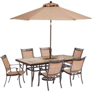 """Fontana - 68"""" 7 Piece Rectangle Dining Set with 6 Sling Dining Chairs and Umbrella Base"""