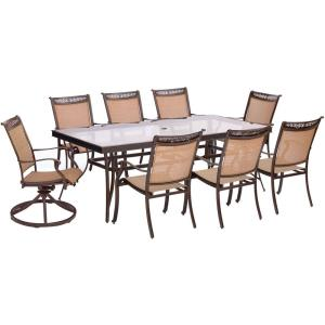 "Fontana - 84"" 9 Piece Rectangle Dining Set with 6 Sling Dining Chairs and 2 Swivel Rockers Chairs"
