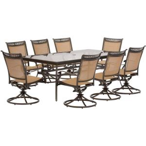 "Fontana - 84"" 9 Piece Rectangle Dining Set with 8 Sling Swivel Rockers Chairs"