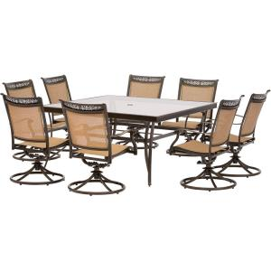 Fontana - 60 Inch 9 Piece Sqaure Dining Set with 8 Sling Swivel Rockers Chairs