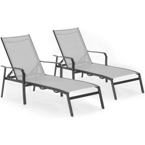 "Foxhill - 69.2"" 2-Piece All-Weather Commercial-Grade Aluminum Chaise Lounge Chair Set with Sunbrella Sling Fabric"
