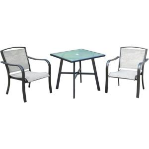 "Foxhill - 3-Piece Commercial-Grade Bistro Set with 2 Sling Dining Chairs and a 30"" Table"