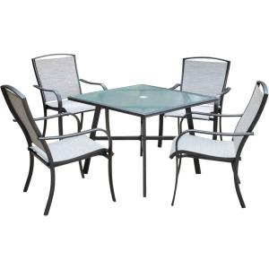 "Foxhill - 5-Piece Commercial-Grade Patio Dining Set with 4 Sling Dining Chairs and a 38"" Table"