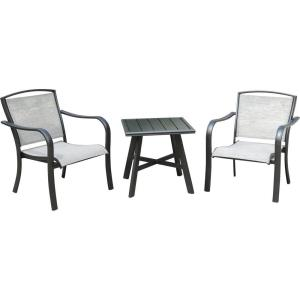 "Foxhill - 3-Piece Commercial-Grade Patio Seating Set with 2 Sling Lounge Chairs and a 22"" Square Slat-Top Side Table"