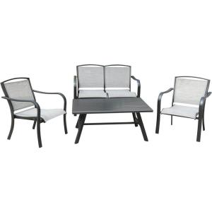 Foxhill - 4-Piece Commercial-Grade Patio Seating Set with 2 Sling Lounge Chairs, Sling Loveseat, and a Slat-Top Coffee Table