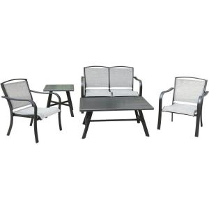 "Foxhill - 5-Piece Commercial-Grade Patio Seating Set with 2 Sling Chairs, Sling Loveseat, Slat Coffee Table, and 22"" Side Table"