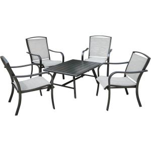 Foxhill - 5-Piece Commercial-Grade Patio Seating Set with 4 Sling Lounge Chairs and a Slat-Top Coffee Table