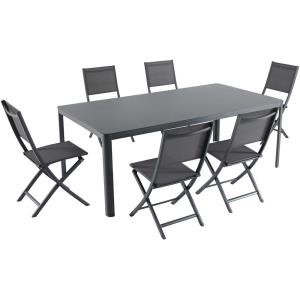 """Fresno - 82"""" 7 Piece Dining Set with 6 Sling Folding Chairs"""