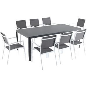 Fresno - 82 Inch 9 Piece Dining Set with 8 Sling Chairs