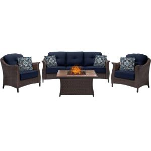 """Gramercy - 43.52"""" 4 Piece Seating Fire Pit Set with Tan Tile Top"""