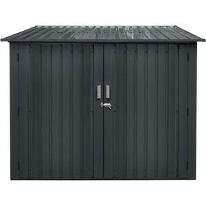 7'x7' Bicycle Storage Unit Lockable Doors, Pent Roof w/Rain Gutters