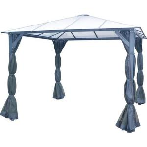 10'x10' Gazebo PC Board Hard Top with Curtains & Netting