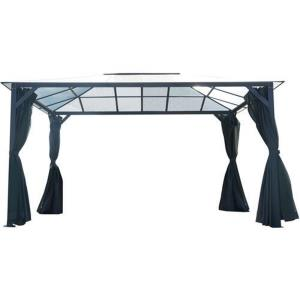 13'x10' PC Board Hard Top Gazebo with Sunshade Curtain and Mosquitto Netting