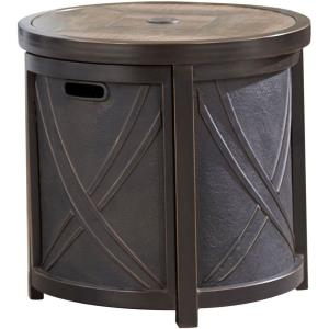 "25"" Round Umbrella Side Table with Tile Top"
