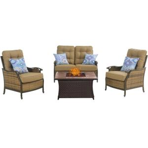 """Hudson - 43.82"""" 4 Piece Square Fire Pit with Tan Tile Top"""