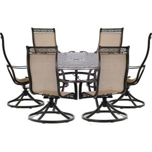 Manor - 60 Inch 7 Piece Round Dining Set with 6 Swivel Rockers