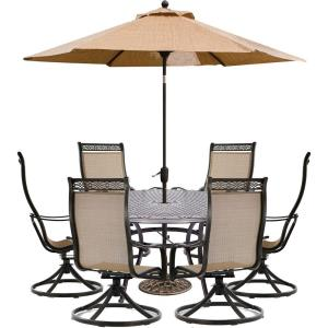 """Manor - 60"""" 7 Piece Round Dining Set with 6 Swivel Rockers and Umbrella Base"""