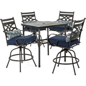 Montclair - 33 Inch 5-Piece High-Dining Patio Set with 4 Swivel Chairs and 33 Inch Counter-Height Dining Table