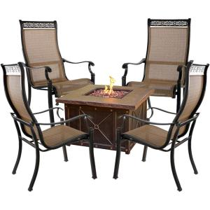 """Monaco - 40"""" 5-Piece Fire Pit Chat Set with 4 Sling Dining Chairs and 40,000 BTU Durastone Propane Fire Pit Coffee Table"""