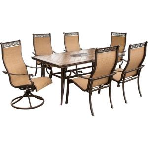 "Monaco - 40"" 7-Piece High-Back Sling Outdoor Dining Set"