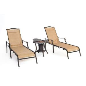 Monaco - 3pc Chaise Lounge Chair with Fire Urn