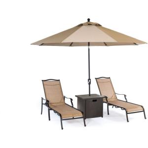 """Monaco - 82.87"""" 4-Piece Lounge Set with 2 Sling Chaise Lounge Chairs, Square Slat-Top Side Table, and 9-Ft. Tilt Umbrella"""