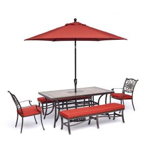 Monaco - 68 Inch 5-Piece Patio Dining Set with 2 Dining Chairs, 2 Benches, 40 Inch x 68 Inch Tile-Top Table, 9-Ft. Umbrella and Stand