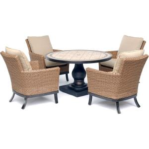 "Monaco - 51"" 5-Piece Patio Dining Set with 4 Woven Armchairs, Tan Cushions, and 51"" Round Tile-Top Pedestal Table"