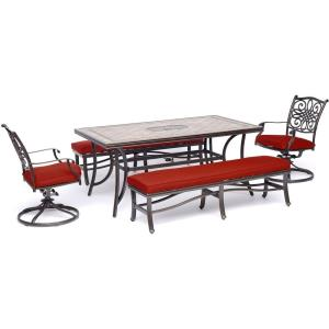 Monaco - 68 Inch 5-Piece Patio Dining Set with 2 Swivel Rockers, 2 Benches, and 40 Inch x 68 Inch Tile-Top Table