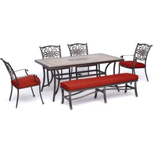 Monaco - 68 Inch 6-Piece Patio Dining Set with Four Dining Chairs, 1 Bench, and a 40 Inch x 68 Inch Tile-Top Table
