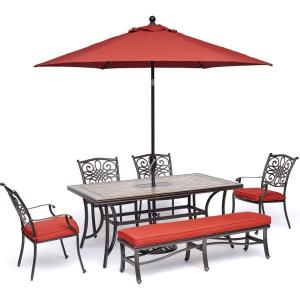 Monaco - 68 Inch 6-Piece Patio Dining Set with 4 Dining Chairs, 1 Bench, 40 Inch x 68 Inch Tile-Top Table, 9-Ft. Umbrella and Stand