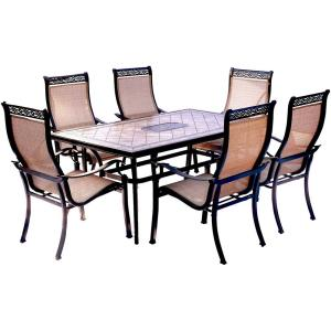 Monaco - 68 Inch 7 Piece Dining Set with 6 Sling Dinig Chairs