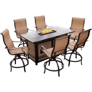 """Monaco - 68"""" 7 Piece Dining Fire Pit Set with 6 Sling Dinig Chairs"""