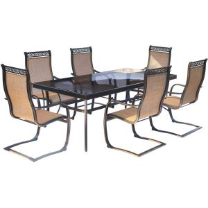 "Monaco - 84"" 7 Piece Glass Top Dining Set with 6 Sling Spring Chairs"