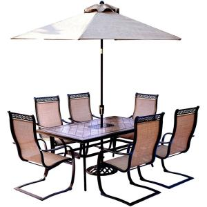 """Monaco - 68"""" 7 Piece Dining Set with 6 Sling Spring Chairs and Umbrella Base"""