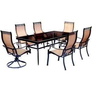 Monaco - 84 Inch 7 Piece Dining Set with 4 Sling Dining Chairs and 2 Sling Swivel Rockers