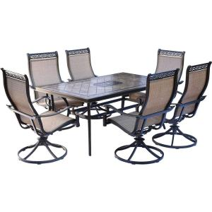 Monaco - 68 Inch 7 Piece Dining Set with 6 Cush Swivel Chairs