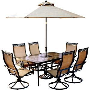 Monaco - 68 Inch 7 Piece Dining Set with 6 Sling Swivel Rockers with Umbrella Base