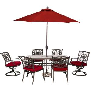 """Monaco - 68"""" 7-Piece Patio Dining Set with 4 Chairs, 2 Swivel Rockers, 40"""" x 68"""" Tile-Top Table, 9-Ft. Umbrella and Stand"""