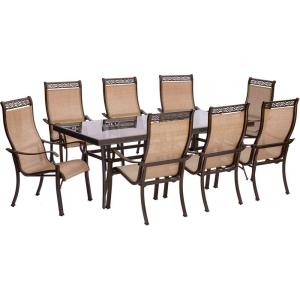 Monaco - 84 Inch 9 Piece Dining Set with 8 Sling Dining Chairs
