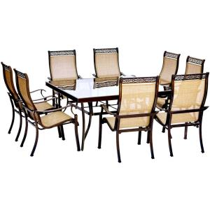 "Monaco - 60"" 9 Piece Glass Top Square Dining Set with 8 Sling Spring Chairs"